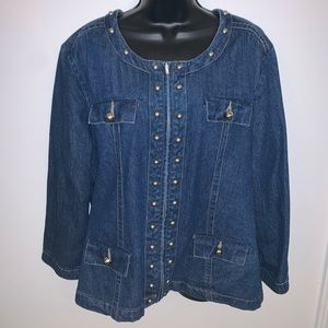 WESTBOUND STUDDED ZIP-UP BLUE JEAN JACKET SIZE XL